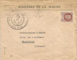 France 1943 Paris Ministere De La Marine Naval Cover - Poststempel (Briefe)