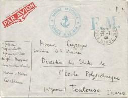 Maroc 1940 Casablanca Port French Naval Unfranked Cover - Brieven En Documenten