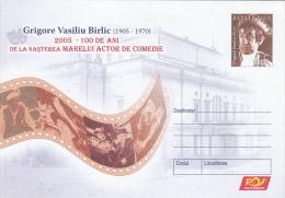 10190-  CINEMA,FILM,GRIGORE VASILIU BIRLIC, ACTOR, COVER STATIONERY, 2005, ROMANIA