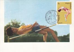 10306- ATHLETICS, HIGH JUMP, MAXIMUM CARD, 1992, ROMANIA - Athletics