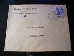 Enveloppe Gaston Toupet Cie, écrous, Neufmanil (Ardennes) N°718A,seul Sur Lettre - 1945-54 Marianne Of Gandon