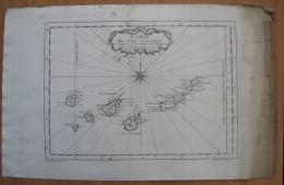 MAPPA CARTA NAUTICA ISOLE CANARIE SPAGNA ANNO 1746 - Carte Nautiche