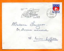 42 SAINT ETIENNE  SUR LA ROUTE BLEUE    29 / 1 / 1968  Lettre Entière N° F 910 - Sellados Mecánicos (Publicitario)