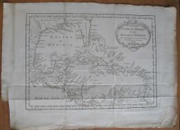 MAPPA CARTA GEOGRAFICA GOLFO DEL MESSICO E ISOLE AMERICA CENTRALE ANNO 1754 - Carte Geographique