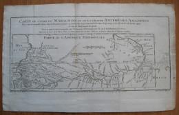 MAPPA CARTA GEOGRAFICA GUIANE GUYANA ECUADORQUITO FIUME MARAGNON E RIO DELLE AMAZZONI AMERICA MERIDIONALE ANNO 1743 1744 - Carte Geographique