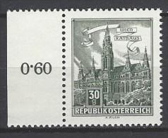 ÖSTERREICH - Mi-Nr. 1111 Randstück Wien Rathaus Postfrisch (1) - 1945-.... 2. Republik
