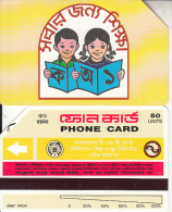 BANGLADESH(Urmet) - Children Reading A Book(reverse C, Thin Band-text On 3 Lines, Tel 3285), Used - Bangladesh