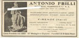 Firenze, 1931, Antonio Frilli Marmi, Bronzi, Monumenti, Fusioni Per Artisti, Inserto Pubblicitario Cm. 19 X 10. - Documenti Storici