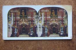 CARTOLINA STEREOSCOPICA INTERIOR OF CHURCH OF HOLY SEPULCHRE, JERUSALEM_INTERNO CHIESA DEL SANTO SEPOLCRO GERUSALEMME - Ansichtskarten