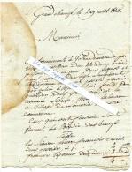 Lettre Du Maire  De GRAND-CHAMP (56)  Réquisition De Boeufs Et Seigle,pour 8éme Division Armée Royale à AURAY -  1815 - Alte Papiere