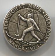 BIATHLON - Minsk, 1974. World Cup, Vintage Pin, Badge, Diameter: 30mm - Biathlon