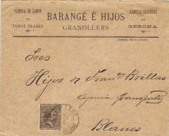 11346. Carta GRANOLLERS (Barcelona) 1892. Fechador Trebol - 1889-1931 Royaume: Alphonse XIII