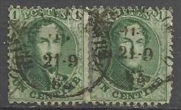Belgique - Médaillon N°13A Paire Mais Timbres Détachés - Obl. Bruxelles (Midi) 21-9-63 - 1863-1864 Médaillons (13/16)