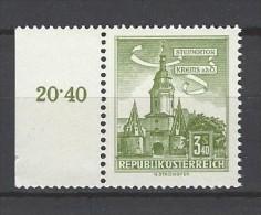 ÖSTERREICH - Mi-Nr. 1050 Randstück Steinertor Krems A. D. Donau Postfrisch (2) - 1945-.... 2. Republik