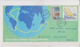 Entier Postal Sur Enveloppe : Course Autour Du Monde En équipage 1993-1994 - Entiers Postaux