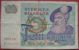 5 Kronen / Kronor  1970 (WPM 51b) - Schweden