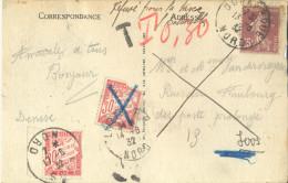 _5Tx899: Refusé Pour La Taxe - LOOS NORD -  LILLE R.P. NORD  DUNKERQUE NORD L´HOTEL De Ville - 1859-1955 Covers & Documents
