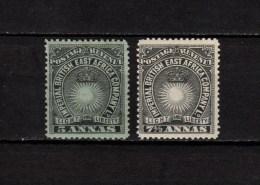 British East Africa 1894 Michel  12 - 13, 5 Anna, 7 1/2 Anna  2 Stamps MLH - Kenya, Uganda & Tanganyika