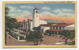CA ~ Union Train Station LOS ANGELES California c1940's Postcard