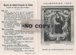 CALENDRIER  1958  ( L´ Oeuvre De SAINT - FRANÇOIS  DE  SALES ) - Calendriers