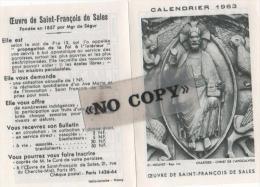 CALENDRIER  1963  ( L´ Oeuvre De SAINT - FRANÇOIS  DE  SALES ) - Calendriers