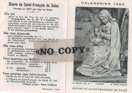 CALENDRIER  1964  ( L´ Oeuvre De SAINT - FRANÇOIS  DE  SALES ) - Petit Format : 1961-70