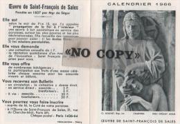 CALENDRIER  1966  ( L´ Oeuvre De SAINT - FRANÇOIS  DE  SALES ) - Calendriers