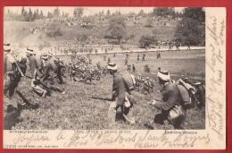 NJ-19 Armeecorpsmanöver Eidg. Armee Suisse, Dernière Attaque. Militaire, Militär. Précurseur. Cachet Payerne 1903 - Suisse