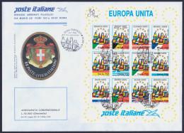 """1993 ITALIA REPUBBLICA """"EUROPA UNITA"""" FDC POSTE ITALIANE (ANN. ROMA) - 6. 1946-.. Repubblica"""