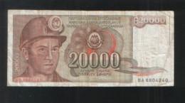 YUGOSLAVIA 20000 Dinara 1987 - Yugoslavia