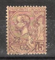 MONACO, 1901, Yvert N° 24, Prince Albert 1 Er,  15 C Brun Lilas , Obl TB, Cote 2 Euros - Monaco