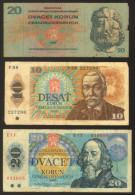 Czechoslovakia Lot Of 3 Banknotes 10, 20, 20 Korun            #b30 - Cecoslovacchia