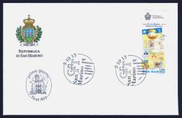 """2013 SAN MARINO """"50° ANNIVERSARIO CENTRO ITALIANO DI FILATELIA TEMATICA (CIFT)""""  FDC SINGOLO - FDC"""