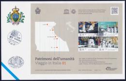 """2013 SAN MARINO """"UNESCO PATRIMONI DELL´UMANITA´ VIAGGIO IN ITALIA 01"""" FDC FOGLIETTO - FDC"""