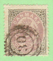 "DEN SC #17  1871 Numeral W/nibbed Perfs @ B, Exp. Mark (?) On Back, ""30"" (Horsens) In Conc Circs, CV $110.00 - 1864-04 (Christian IX)"