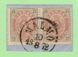 """DEN SC #17 PR On-piece 1871 Numeral W/MALMO Cancel (""""MALMO / 8-10-1872""""), CV $220.00 - 1864-04 (Christian IX)"""