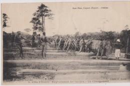 Afrique,cote D´ivoire,abidjan, Timbre Colonie ,exploitation Bois De L´acajou,chargement,métie R ,tout A La Main,1928 - Côte-d'Ivoire
