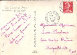 AUDE - CARCASSONNE ENTREPOT - LE 3-9-1956 - CARTE DE CARCASSONNE. - Marcophilie (Lettres)