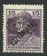 Hungary, 15 F. 1919, Sc # 2N40, Mi # 57b, Debreczen, Romanian Occupation, MH - Debreczen
