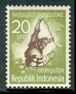 INDONESIA 1959 Protection Of Animals, Orangutan 20s, XF MLH - Monkeys