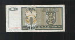 BOSNIA And HERZEGOVINA 50 Din 1992 Republic Srpska - Bosnia And Herzegovina