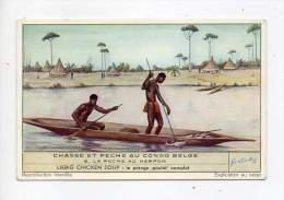 Chromo Liébig - Chasse Et Pêche Au Congo Belge - La Pêche Au Harpon - N°6 - Liebig