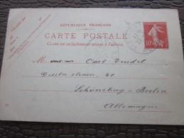 Europe France>Entiers Postaux >Carte Postale Semeuse 10c TIZI OUZOU Algérie Fse Berlin Allemagne Tarif LSE 22/11/1913 - Entiers Postaux