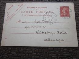 Europe France>Entiers Postaux >Carte Postale Semeuse 10c TIZI OUZOU Algérie Fse Berlin Allemagne Tarif LSE 28/12/1910 - Enteros Postales