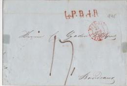 PAYS BAS   LETTRE COMPLETE SANS  CORRESPONDANCE  MARQUE D'ENTREE  1846 - Nederland