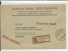 1947 - ENVELOPPE RECOMMANDEE De KUFSTEIN Avec GEBÜHR BEZAHLTpour INNSBRUCK - 1945-60 Brieven