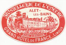 ALET Les BAINS- L'Hostellerie De L'Evech, France- Old HOTEL LUGGAGE LABEL ETIQUETTE ETICHETTA BAGAGE - Etiquettes D'hotels