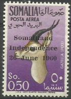 Somalia - 1960 Somaliland Independence Overprint (gazelle) 50c MNH **     SG 354  Sc C68 - Somalia (1960-...)