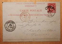 Entier Postal Belgique Carte Postale Pour Charleville Oblitération Liège Entrée Mézières - Postales [1871-09]