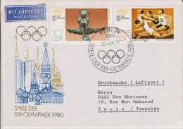 Sport 305) Olympia Moskau 1980: DDR Mi# 2503, 2504 FDC 1: Drucksache, Luftpost Nach Tunesien - Ete 1980: Moscou